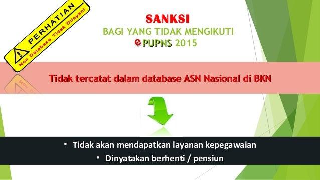 SANKSI BAGI YANG TIDAK MENGIKUTI PUPNSPUPNS 2015 Tidak tercatat dalam database ASN Nasional di BKNTidak tercatat dalam dat...