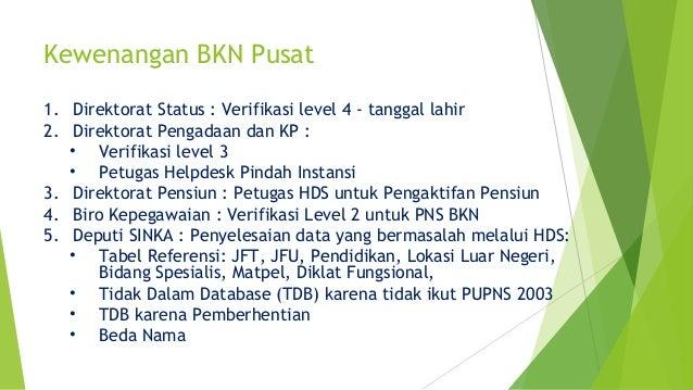 Kewenangan BKN Pusat 1. Direktorat Status : Verifikasi level 4 - tanggal lahir 2. Direktorat Pengadaan dan KP : • Verifika...