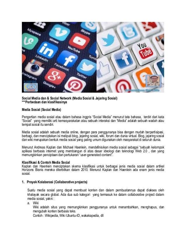 Media Sosial & Jejaring Sosial (Perbedaan dan klasifikasinya)