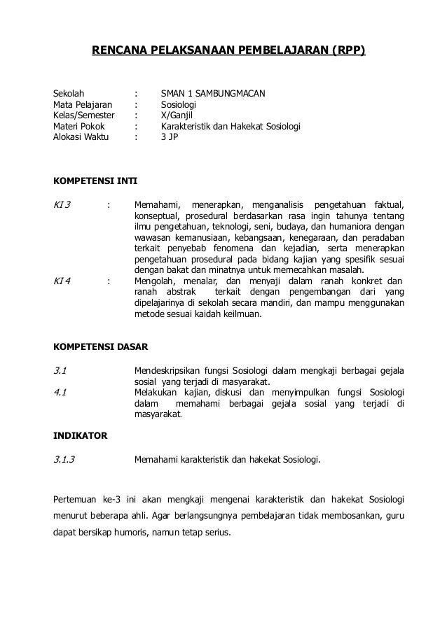 Sosiologi X Rpp Kurikulum 2013