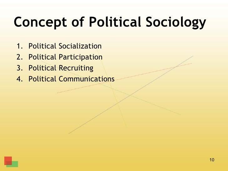 Concept of Political Sociology1.   Political   Socialization2.   Political   Participation3.   Political   Recruiting4.   ...