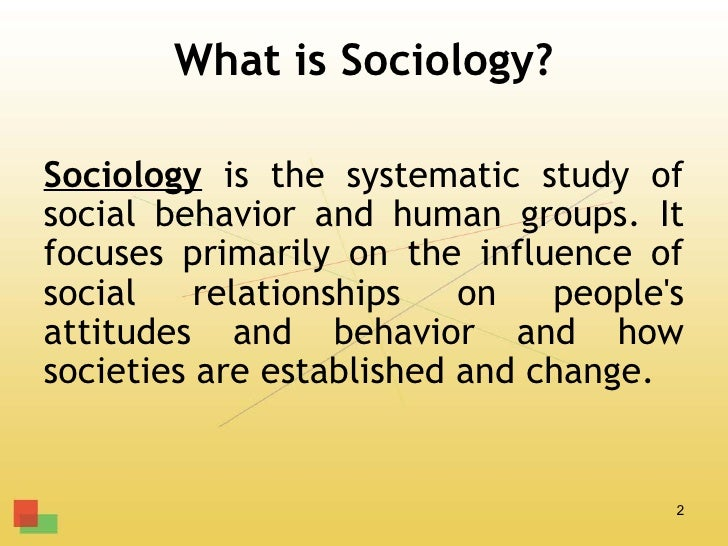 What is Sociology?Sociology is the systematic study ofsocial behavior and human groups. Itfocuses primarily on the influen...