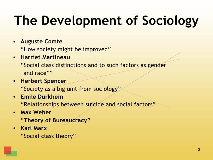 """The Development of Sociology• Auguste Comte  """"How society might be improved""""• Harriet Martineau  """"Social class distinction..."""
