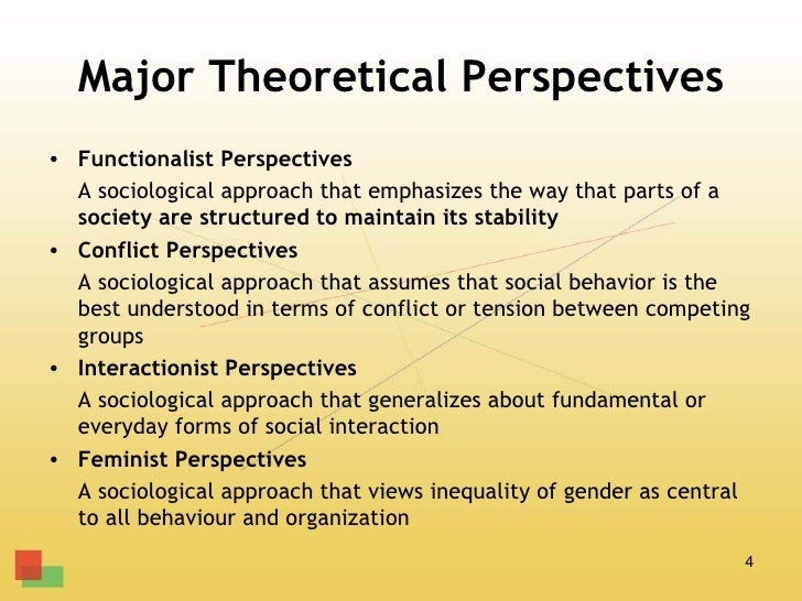 Major Theoretical Perspectives• Functionalist Perspectives  A sociological approach that emphasizes the way that parts of ...