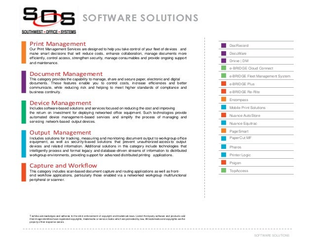 Southwest office systems workflow and office software solutions 37software solutions software solutions print management our print management services are designed to help you take malvernweather Gallery