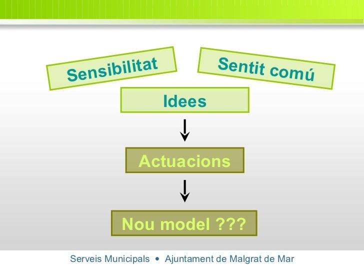 Serveis Municipals     Ajuntament de Malgrat de Mar Sensibilitat Actuacions Sentit comú Idees Nou model ???