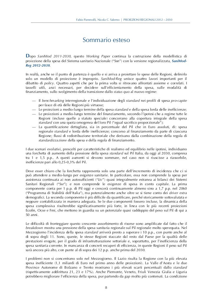 Fabio Pammolli, Nicola C. Salerno | PROIEZIONI REGIONALI 2012 – 2030                                      Sommario estesoD...
