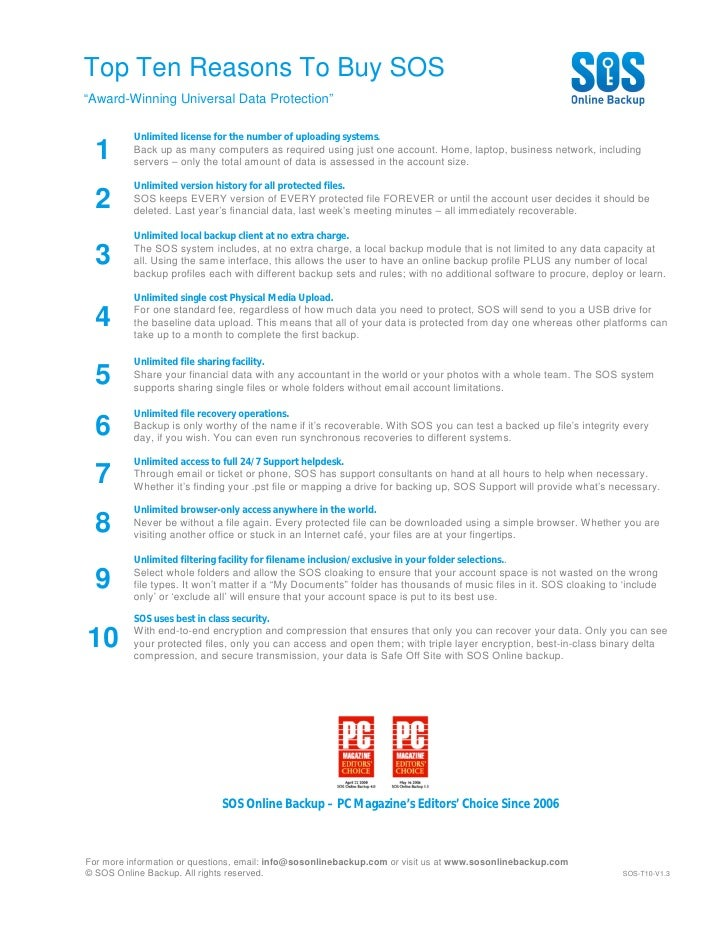 """Top Ten Reasons To Buy SOS """"Award-Winning Universal Data Protection""""            Unlimited license for the number of upload..."""