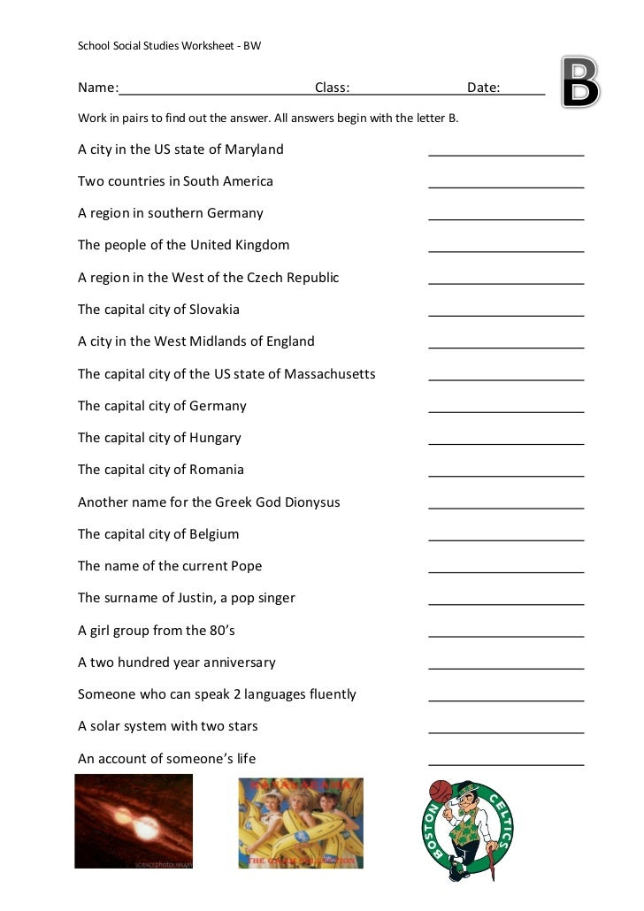 Social Studies Alpha Worksheet B