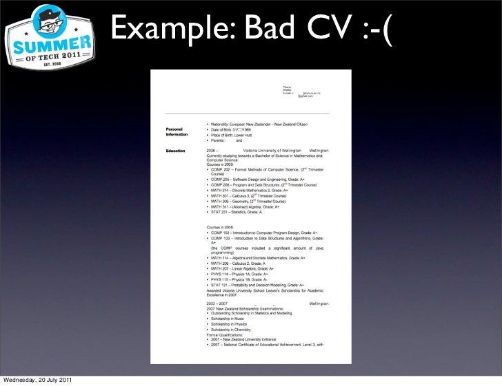 example  bad cv