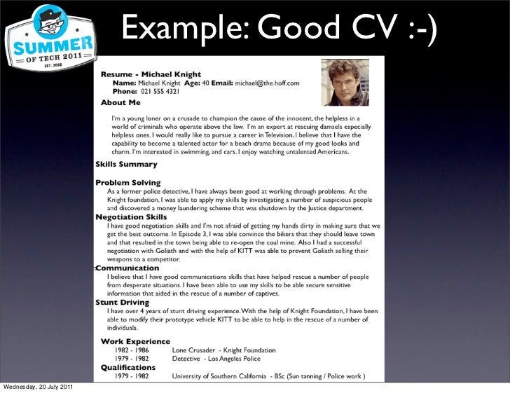 Example Good Cv Wednesday 20