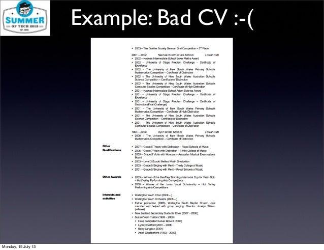 Example: Bad CV : ( Monday, 15 July 13 ...
