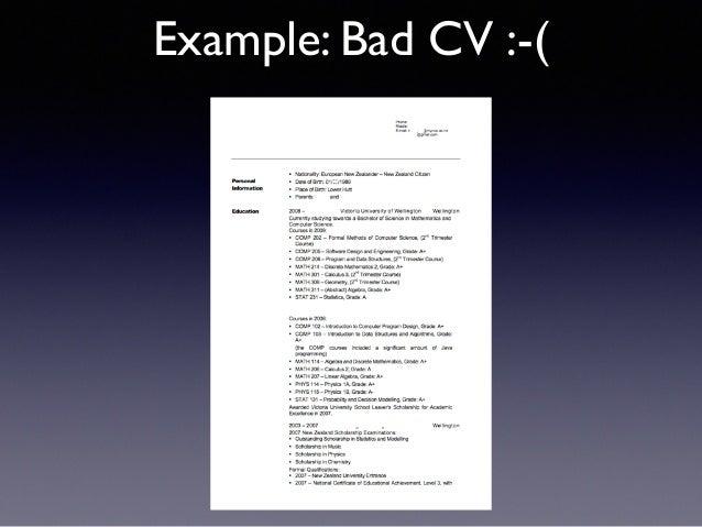 example of bad cv
