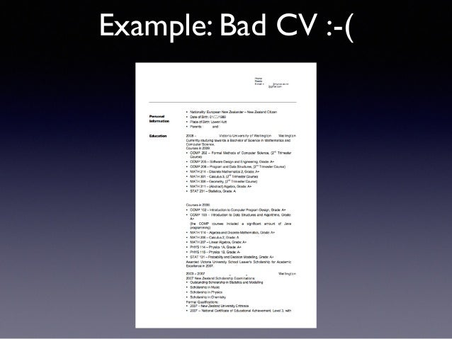 Example: Bad CV : ( Text ...  Example Of A Bad Resume