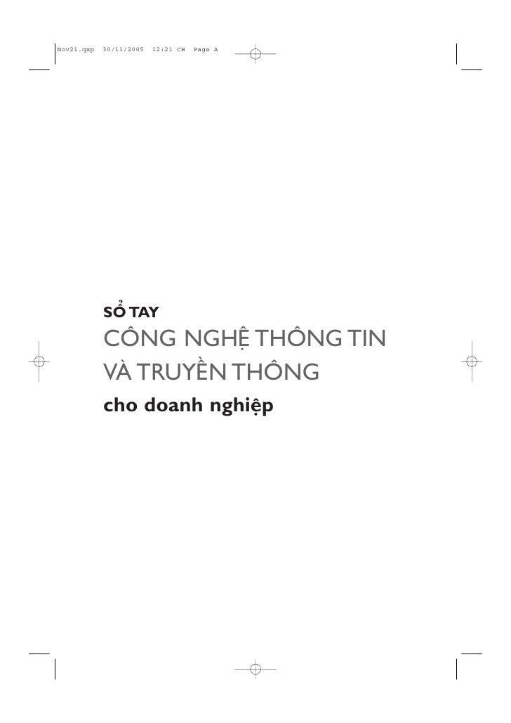 SÖÍ TAY CÖNG NGHÏÅ THÖNG TIN VAÂ TRUYÏÌN THÖNG cho doanh nghiïåp