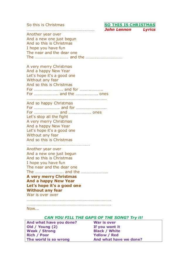 So this is christmas lyrics