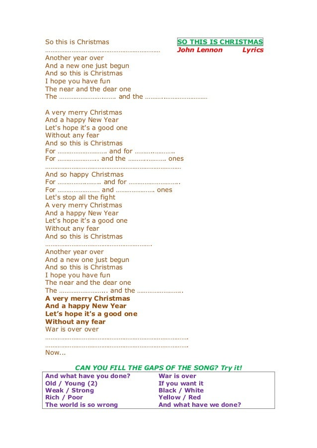 So this is christmas lyrics