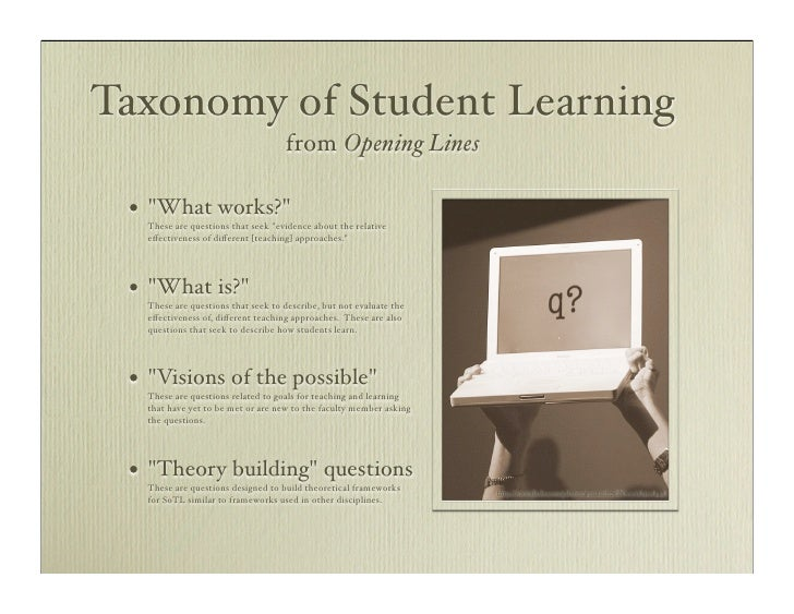 Taxonomy of Student Learning                                       from Opening Lines   •   quot;What works?quot;      The...