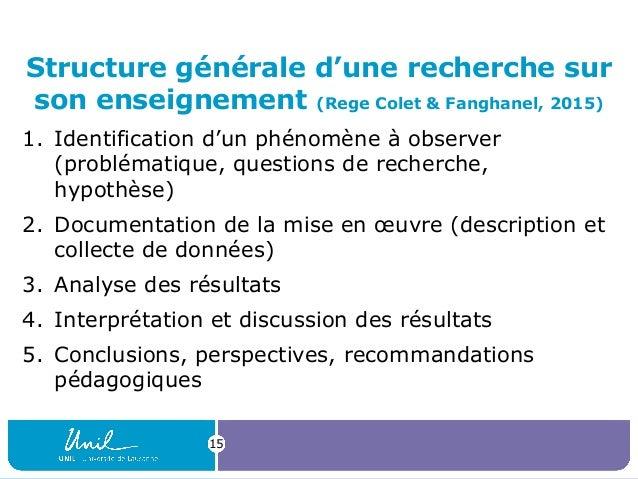 15 Structure générale d'une recherche sur son enseignement (Rege Colet & Fanghanel, 2015) 1. Identification d'un phénomène...