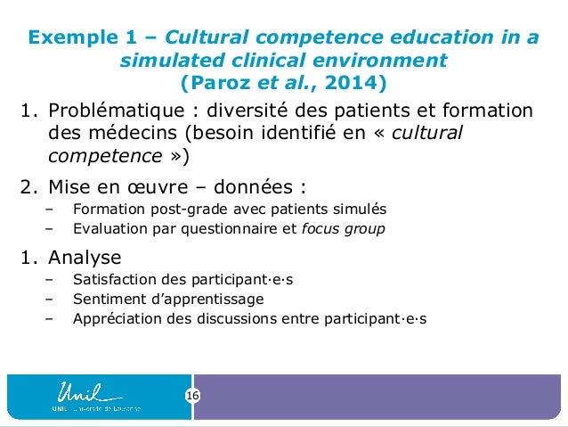 Exemple 1 – Cultural competence education in a simulated clinical environment (Paroz et al., 2014) 1. Problématique : dive...