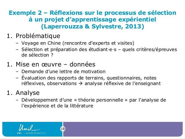 Exemple 2 – Réflexions sur le processus de sélection à un projet d'apprentissage expérientiel (Laperrouzza & Sylvestre, 20...