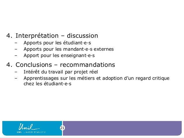4. Interprétation – discussion – Apports pour les étudiant·e·s – Apports pour les mandant·e·s externes – Apport pour les e...