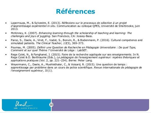 Références • Laperrouza, M., & Sylvestre, E. (2013). Réflexions sur le processus de sélection à un projet d'apprentissage ...