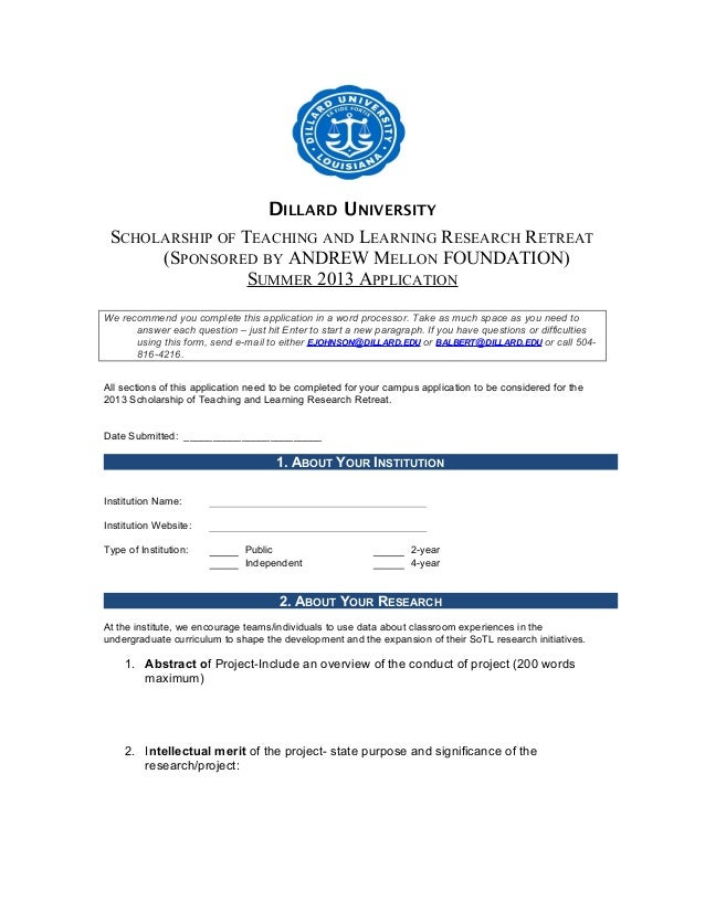 DILLARD UNIVERSITY SCHOLARSHIP OF TEACHING AND LEARNING RESEARCH RETREAT      (SPONSORED BY ANDREW MELLON FOUNDATION)     ...