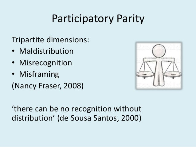 Participatory Parity Tripartite dimensions: • Maldistribution • Misrecognition • Misframing (Nancy Fraser, 2008) 'there ca...
