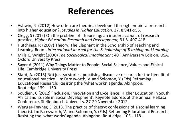 References • Ashwin, P. (2012) How often are theories developed through empirical research into higher education?, Studies...