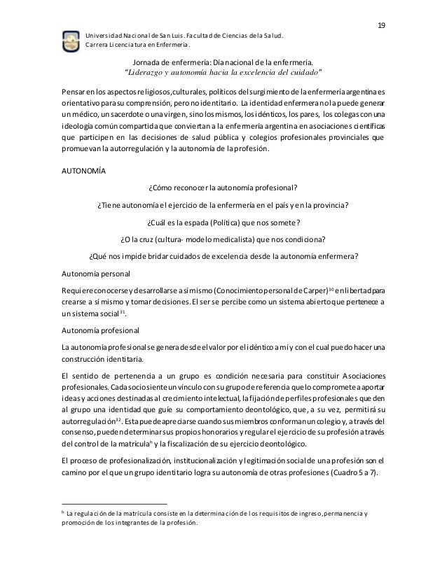 Soto Vercher. Liderazgo y Autonomía de Enfermería en Argentina. PAE …