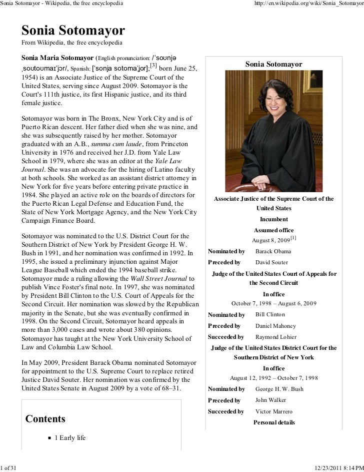 Sonia Sotomayor - Wikipedia, the free encyclopedia                                            http://en.wikipedia.org/wiki...