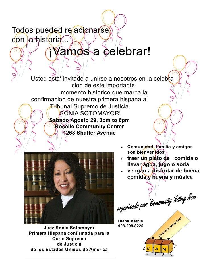 Todos pueded relacionarse con la historia...             ¡Vamos a celebrar!      Usted esta′ invitado a unirse a nosotros ...