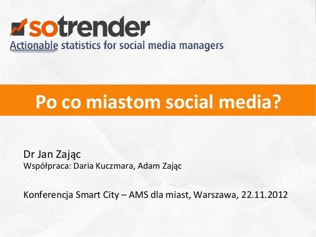 Po co miastom social media? Dr Jan Zając Współpraca: Daria Kuczmara, Adam Zając  Konferencja ...