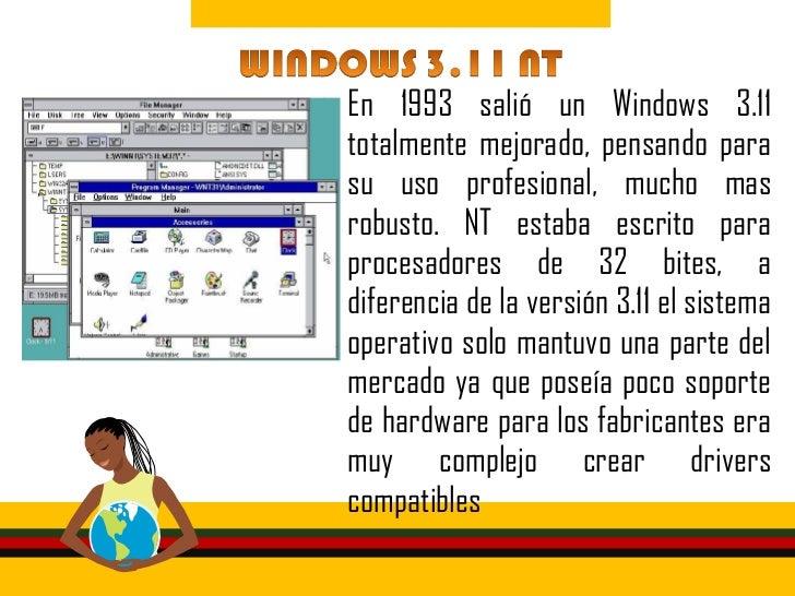 • Con esta versión, Windows dejó de  ser un complemento Gráfico de MS-  DOS y se convirtió en un sistema  operativo comple...