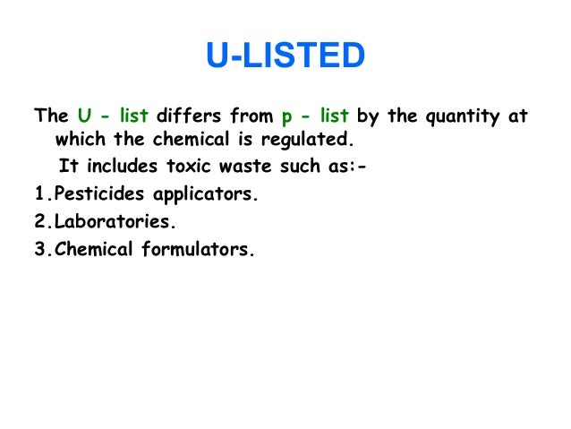 Hazardous waste management u listed the u list sciox Image collections