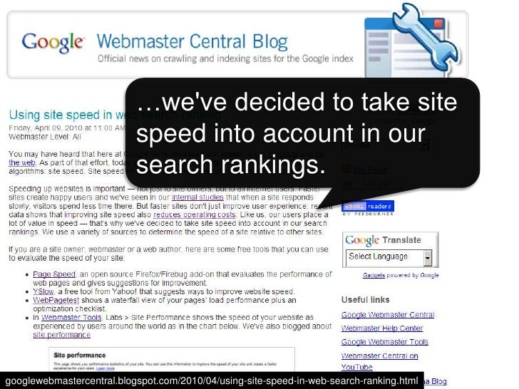 Site speed in search rank<br />Screen shot of blog post<br />…we've decided to take site speed into account in our search ...