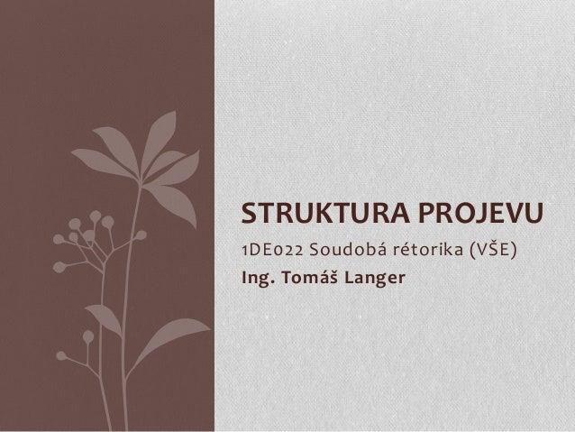 1DE022 Soudobá rétorika (VŠE) Ing. Tomáš Langer STRUKTURA PROJEVU