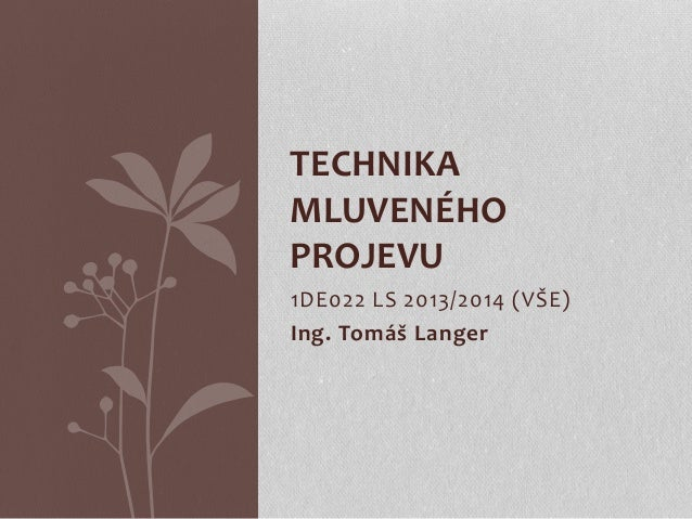 1DE022 LS 2013/2014 (VŠE) Ing. Tomáš Langer TECHNIKA MLUVENÉHO PROJEVU