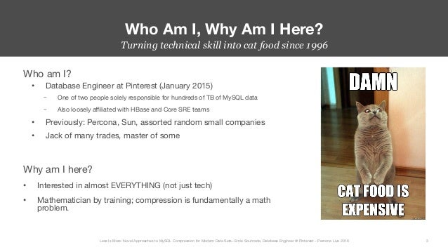 Less Is More: Novel Approaches to MySQL Compression for Modern Data Sets - Percona Live 2016 Slide 3