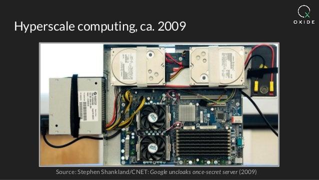 Hyperscale computing, ca. 2009 Source: Stephen Shankland/CNET: Google uncloaks once-secret server (2009)