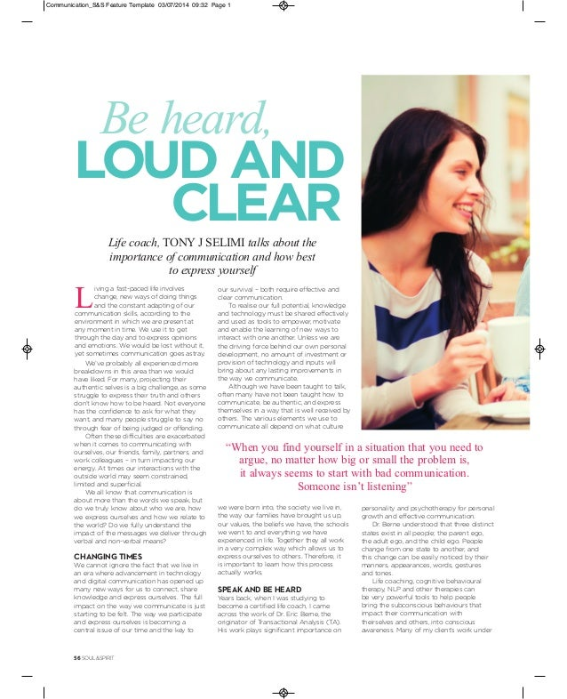 Soul & Spirit Magazine Article on Importance of Communication and How…