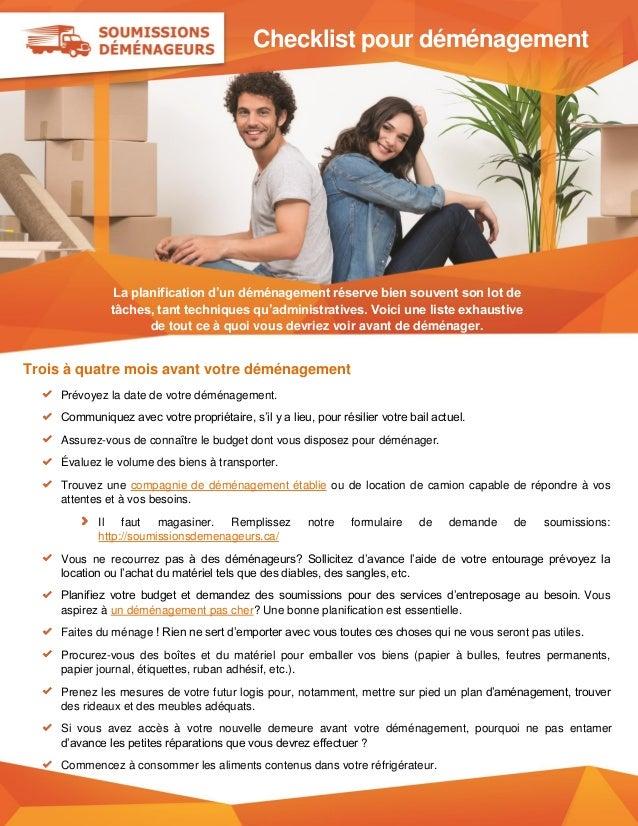 Checklist pour déménagement La planification d'un déménagement réserve bien souvent son lot de tâches, tant techniques qu'...