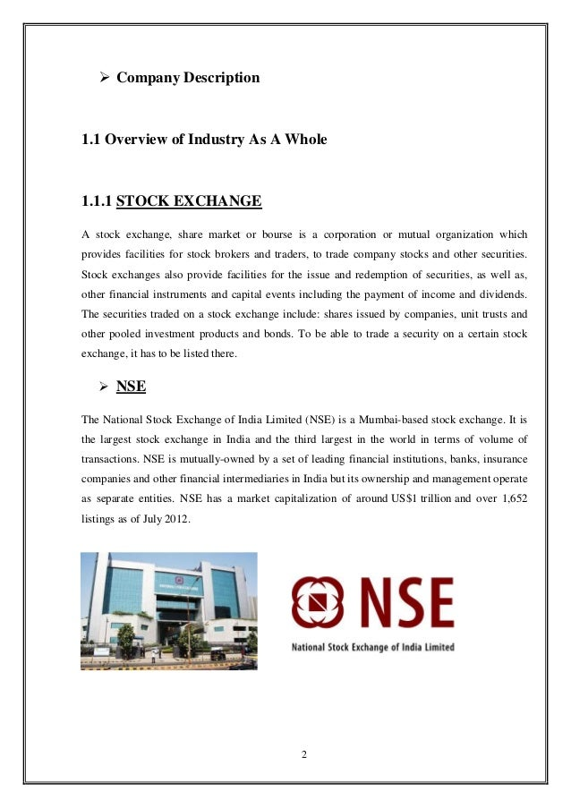 internship report on security stock exchange Executive summary this report summarizes my unique experience as an intern in the best congolese bank during the month of january this internship report covers every single detail of my internship: firstly i will give you the description of the application process i went through and then a detailed description of the company, the.