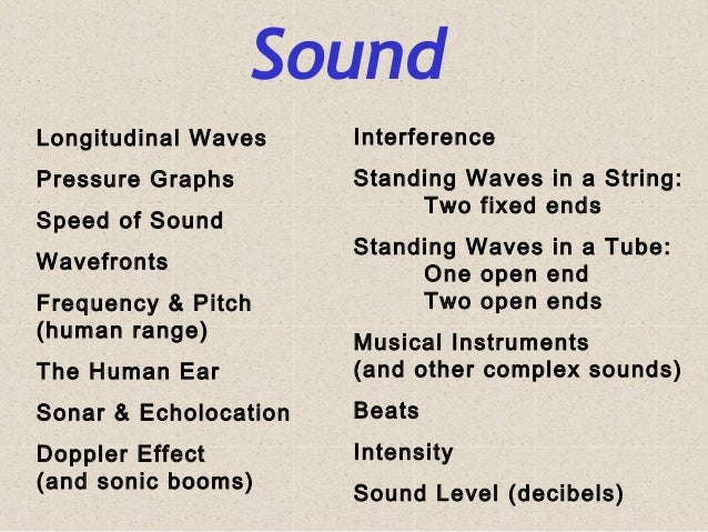 Sound Longitudinal Waves Pressure Graphs Speed of Sound Wavefronts Frequency & Pitch (human range) The Human Ear Sonar & E...