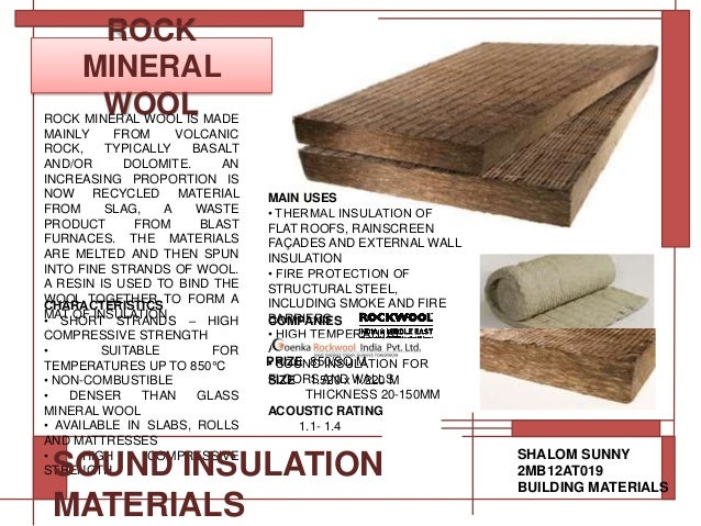Sound insulation materials for 3 mineral wool insulation