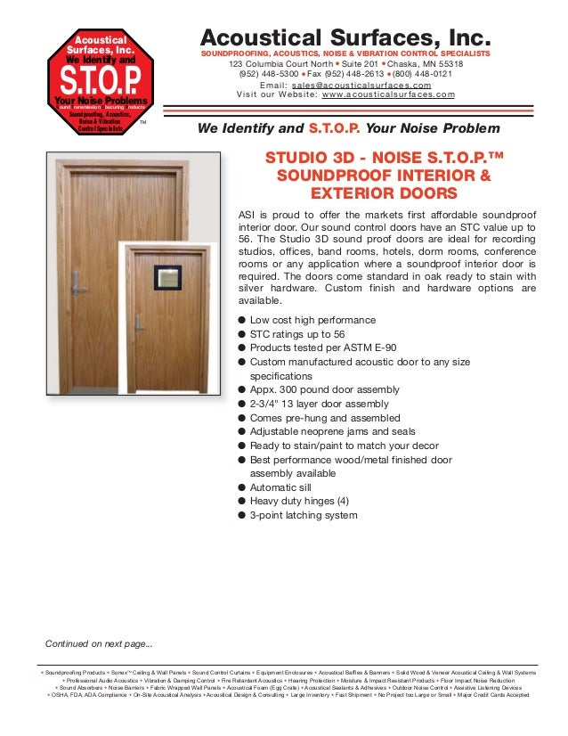 Soundproof Interior U0026 Exterior Doors. Acoustical Surfaces, Inc. ...