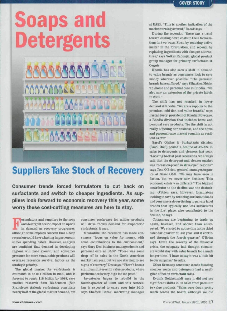 """COVER STORY Soaps and                                                                                      at BASF. """"This ..."""