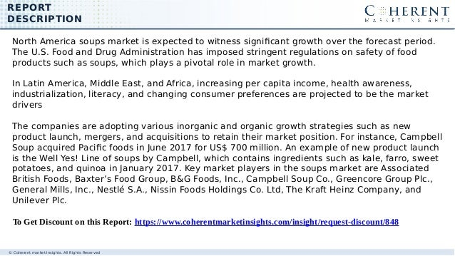 REPORT DESCRIPTION © Coherent market Insights. All Rights Reserved North America soups market is expected to witness signi...