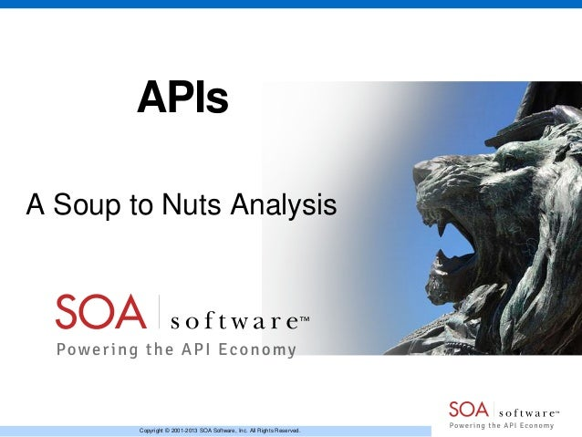 Copyright © 2001-2013 SOA Software, Inc. All Rights Reserved. APIs A Soup to Nuts Analysis